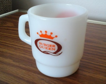 Burger Queen Cup, 70s Anchor Hocking Oven Proof Cup, Good Morning
