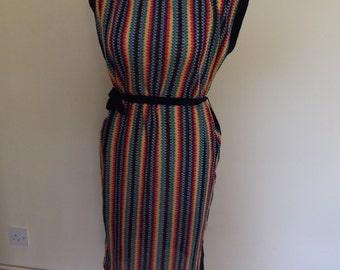 vintage 70s 80s multicoloured dress hippie boho crochet 12 14