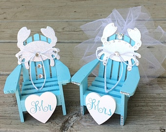 Beach Wedding Crab Cake Topper,Mini Adirondack Chair Set,Beach Wedding Cake Topper,Beach Chairs Cake Topper, Nautical Wedding Cake Topper