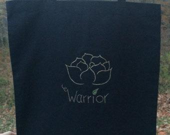 Black Canvas Tote with Lotus Warrior Design