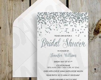 PRINTABLE Silver Glitter Confetti Bridal Shower Invitation - DIY Print at Home / Print your Own Digital Printable Invitation
