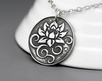Lotus  Flower Necklace - Rustic Jewelry - Buddha Jewelry - Silver Lotus Flower Pendant - Bohemian Necklace - Sterling Silver Necklace