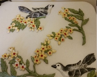 4 piece antique wall plaques set - syroco 1967 usa decor - birds and dogwood flower branch - hard plastic floral art deco home green yellow
