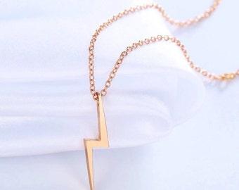 Lightning Bolt Necklace, 18K Gold Plated or Silver Plated Lightning Bolt Necklace, Harry Potter Lightning Bolt Necklace