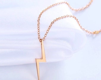 Lightning Bolt Necklace, Harry Potter Lightning Bolt Necklace, 18K Gold Plated or Silver Plated Lightning Bolt Necklace