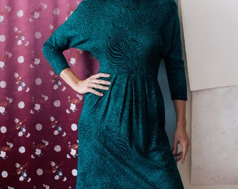Teal Leopard Joanie Char Glamour Dress, Semi-Formal, Casual, Animal Print