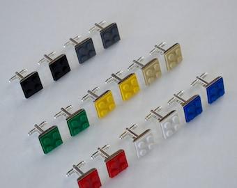 LEGO® Brick Cufflinks made with Genuine LEGO® Bricks, Geek Wear for Him