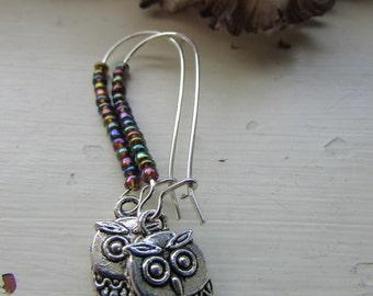 Owl earrings , Beaded earrings ,Kidney wire earrings , Silver plated earrings , Gifts for her , Tibetan silver charm earrings