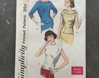 Vintage Sewing Pattern, Simplicity 2305, Size 14, Bust 34, Shirt, 1950's, 50's