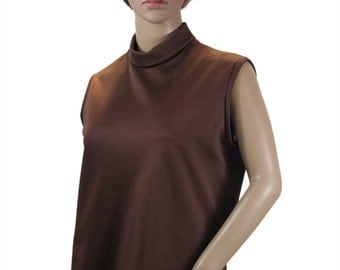 Vintage 70s Sleeveless Polyester Top, Brown, Back Zipper Closure - Mid Century Fashion, Mod Vintage Top