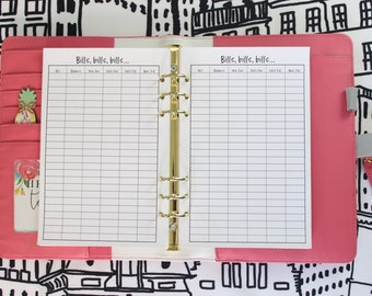 Printed Bill Payment Tracker Half Letter Planner Inserts