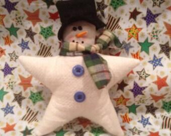 Christmas Star Snowman,Snowman Star ornament,Christmas ornament,Rustic snowman,Country snowman