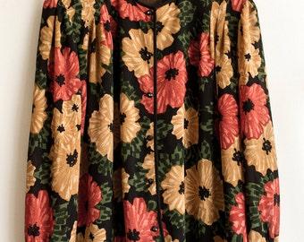 SALE : Poppy   Vintage Floral Chiffon Blouse