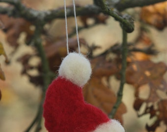 Santa Hat Needle Felted Ornament. Needle Felted Christmas Ornament.