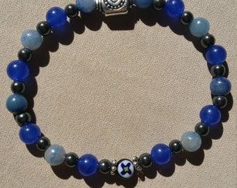 Cool Blue Aventurine, Hematite, Silver, Spirals, French glass flowered bead