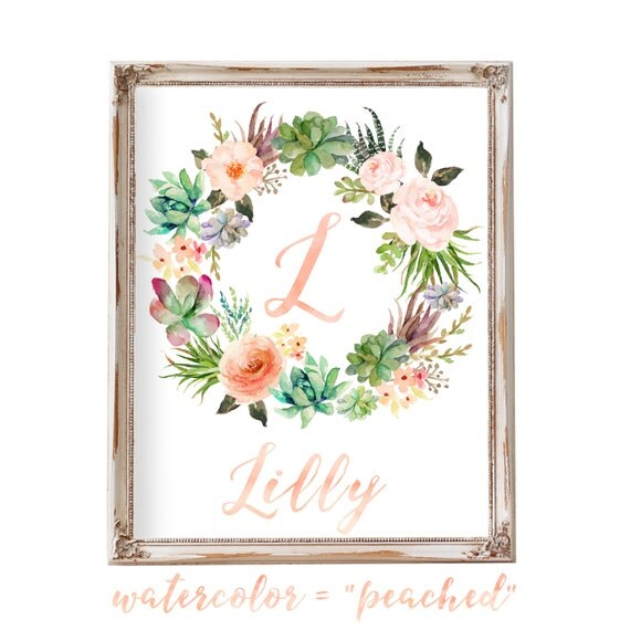 Wall Letters, Wall Decor, Floral Wreath Letter, Printable, Nursery Letter, Cactus, Succulent, Nursery Art, Monogram, Blush, Peach,Rose,Coral