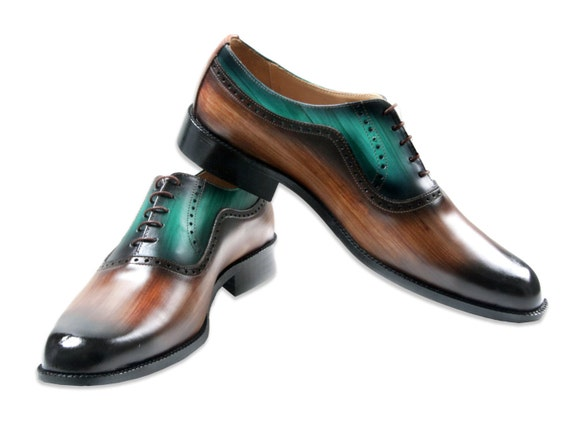 Leather man shoes, wood, forest green, Oxford, hand painted (made in Italy)
