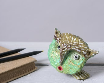 Small Paper Mache sculpture, Owl Collectible figurine, Animal Ornament, Decorative Art Statuette, Eco-Friendly Decor, Miniature sculpture