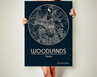 WOODLANDS Texas Map Woodlands Poster City Map Woodlands Texas Art Print Woodlands Texas poster Woodlands Texas map