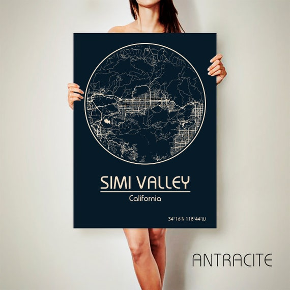 Home Decor Simi Valley: SIMI VALLEY California CANVAS Map Simi Valley California