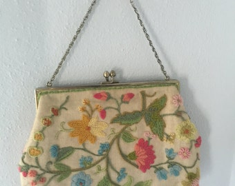 Vintage crewel-work purse