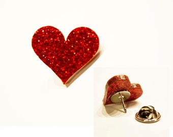 Personalized Pins / Red Heart Pin / Bookbags / Kid Accessories / Coat Pin / Made to Order / Laser Cut