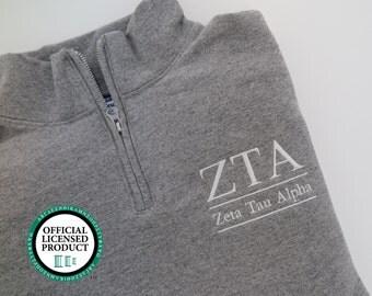 ZTA Sweatshirt, Zeta Tau Alpha Sweatshirt, Cadet Collar Quarter Zip, Greek Apparel, ZTA Sorority Apparel, Zeta Tau Alpha Merchandise