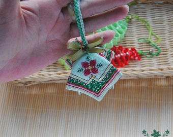 christmas decoration bell tree decoration red flower holiday decor fabric embroidered green christmas ornament christmas gift friends gift