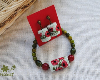 Jewelry set Poppy Red Embroidered jewelry Embroidery bracelet Embroidered earrings Hand embroidery Embroidered beads Ethnic jewelry