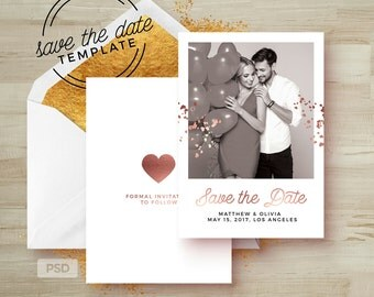 Save the Date Card Template - Rose Gold Wedding Announcement Template - Engagement Photoshop Template - Photography Marketing Template - PSD