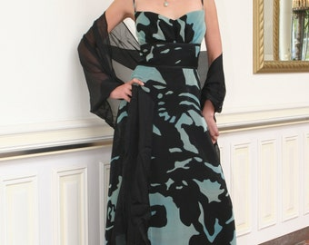 printed chiffon silk evening dress