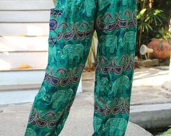 Hippie pants harem pants elephant pants boho pants green