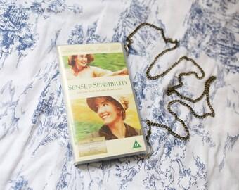 Jane Austen VHS video case handbag, Sense and Sensibility shoulder bag, clutch, retro, up-cycled