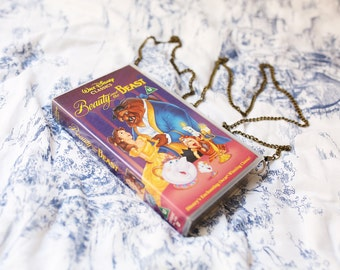 VHS video case handbag, Disney's Beauty and the Beast shoulder bag, clutch, retro, up-cycled