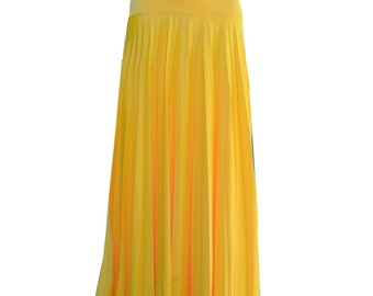 YELLOW Flare Jersey Pleated Maxi Skirt | Modest Long Skirt | Islamic Clothing S M L XL 2XL 3XL