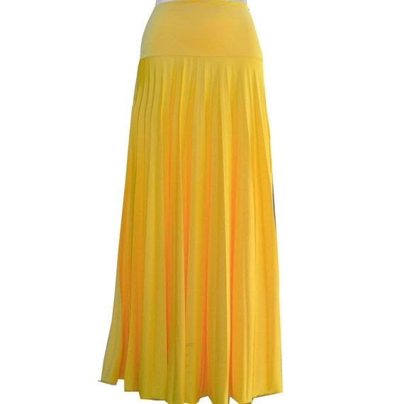 yellow flare jersey pleated maxi skirt modest skirt