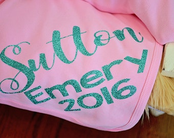 Newborn blanket Personalized pink and aqua, personalized knit baby girl name blanket, customized glitter name blanket, swaddle wrap blanket