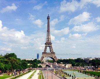 Eiffel Tower Photo | Paris, France | Downloadable Landscape | Instant Download JPG