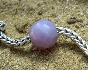 Lavender Pink Opal Glass European Bead facetted Prism