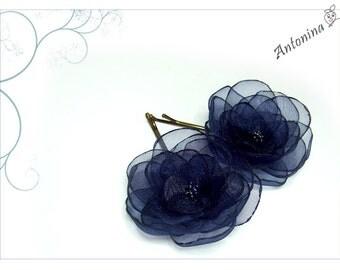 2 dark blue hair flowers hair flowers blue hair blue flowers darkblue hair accessories