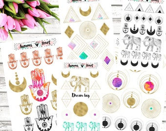 Gold Geometric Full Set Planner Stickers boho