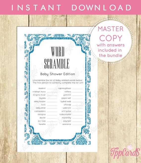 Instant Download Royal Blue Prince Baby Word Scramble By