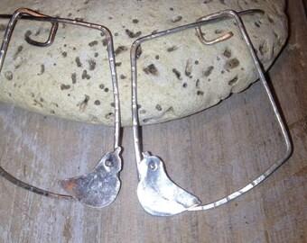silver bird earrings handmade