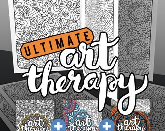 3 Coloring Books, 60 adult coloring pages / Art Therapy printable adult coloring book bundle / anti-anxiety self-care / adult coloring books