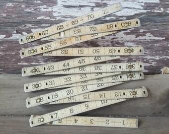 Metal folding ruler, 6 foot vintage measuring stick