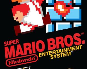 Retro 8bit Super Mario Bros Original Nintendo NES Cover Art Poster (18 x 24 or 24 x 36)