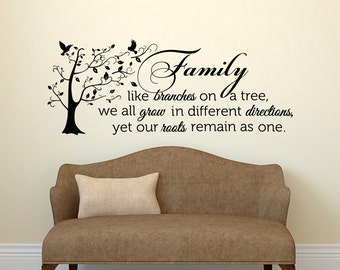 Family Wall Decal Quote- Family Like Branches On A Tree- Vinyl Lettering-  Bedroom Decor- Family Tree Wall Decal- Inspirational Quote 021