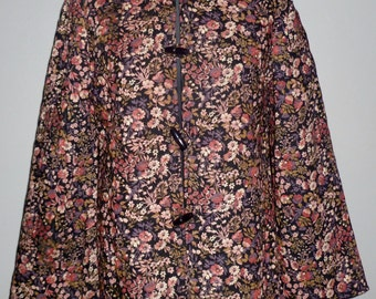 Vintage 1980's Quilted Floral Jacket Flared Sleeves UK 10 - 12