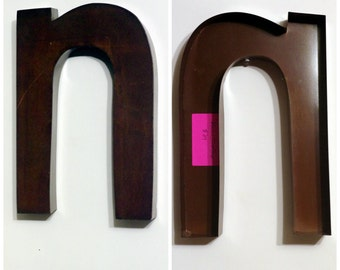 "Large metal lowercase letter ""N"" - 3D - Unique, Distressed, Rustic Letter"