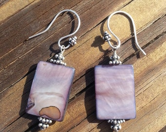Charcoal Mother of Pearl & Bali Silver Earrings